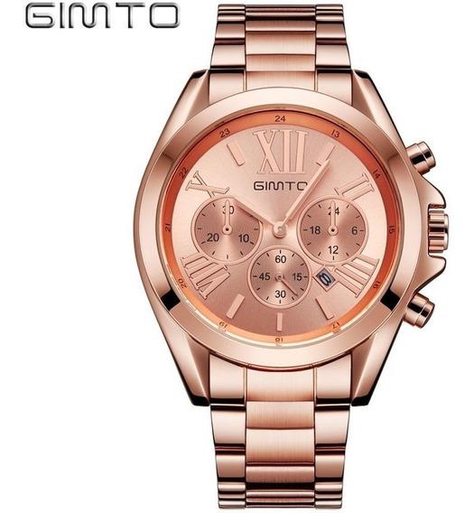 Relógio Gimto Gt0240 Gold Rose Aço Inoxidável Feminino