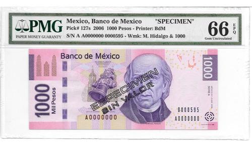 Imagen 1 de 5 de Billete Espécimen $1,000 Mil Pesos 2006  Hidalgo
