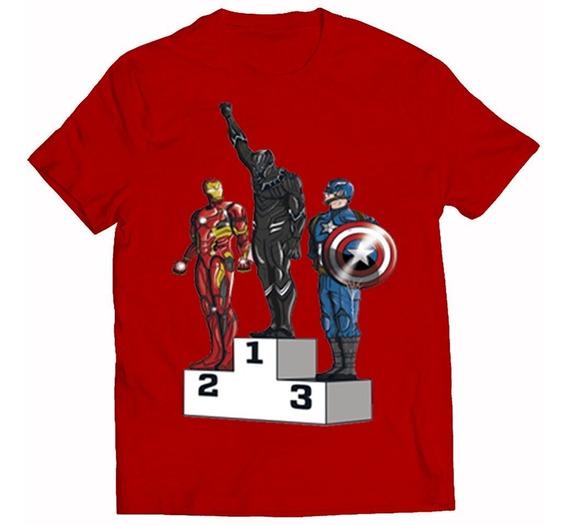 Camiseta Unissex Capitão América Patera Negra Homem De Ferro