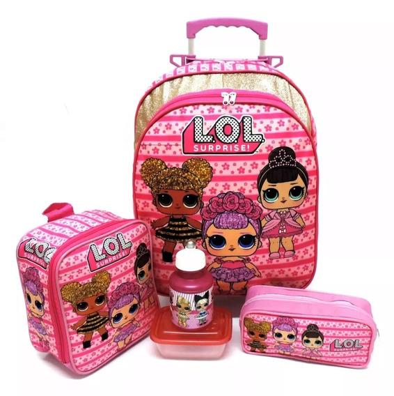 Kit Mochila Infantil Escolar Lol Surprise Rosa Brilhos Rodinhas Tam M F5