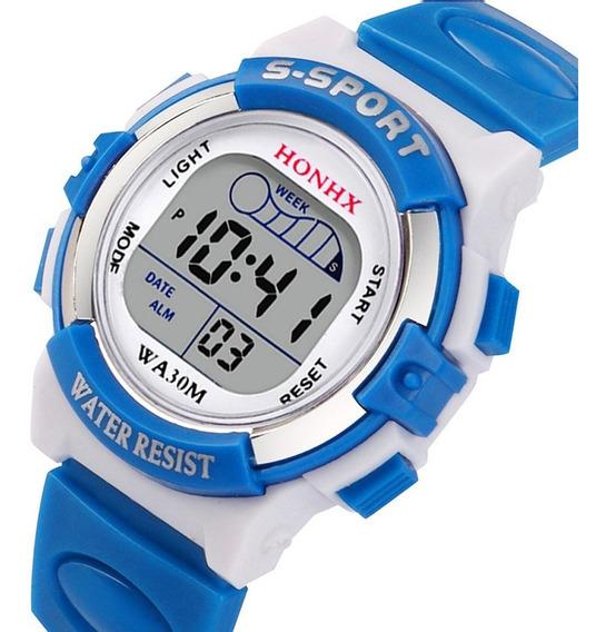 Relógio Digital Infantil Honhx W50 Azul Celeste + Brinde
