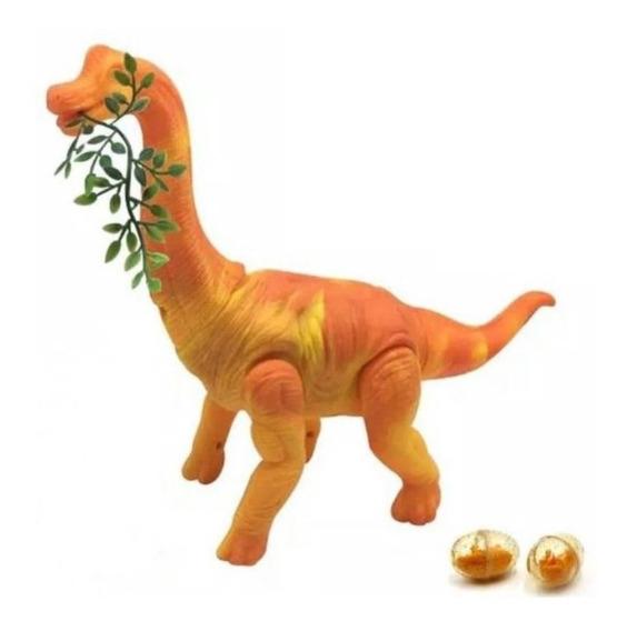 Dinossauro Diplodocus Bota Ovo Com Som A Pilha Laranja 51cm