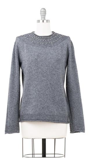 Suéter Tejido De Punto, Cuello Alto, Estoperoles, Entallado.
