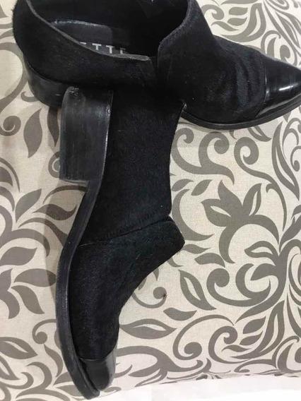 Zapatos Negros Sette Piel Con Punta De Charol
