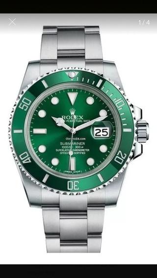 Relógio Rolex Automático Submarino Huck Verde