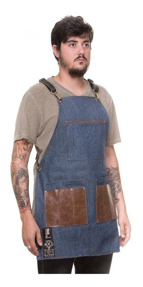 Avental De Jeans Com Detalhes Em Couro Oldschool Leather