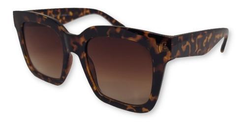 Óculos De Sol Retrô Retângulo Degradê Delicado Onça
