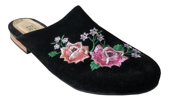 Zapato Berna By Lucerna Chata Gamuza Sintética Bordada