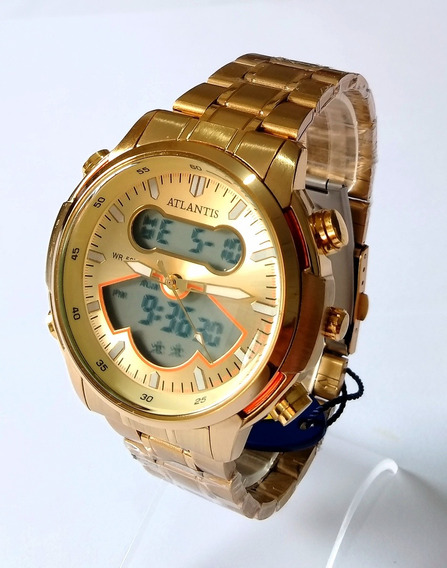 Relógio Dourado Masculino Ponteiro E Digital Atlantis