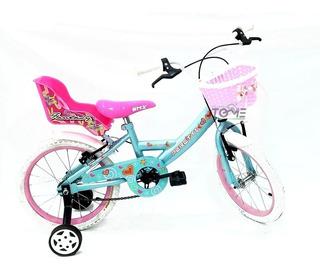 Bicicleta Peretti Bmx Cros Nena Rodado 16 Canasto Sillita