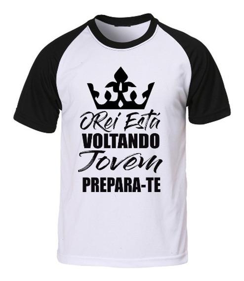 Camisa Camiseta Raglan Gospel Evangélica O Rei Está Voltando