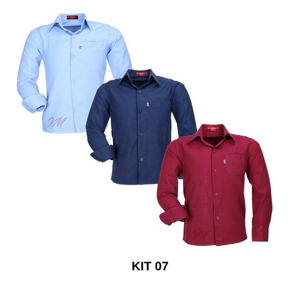 Kit 3 Camisas Infantil Alfa Não Amassa Fácil De Passar Top