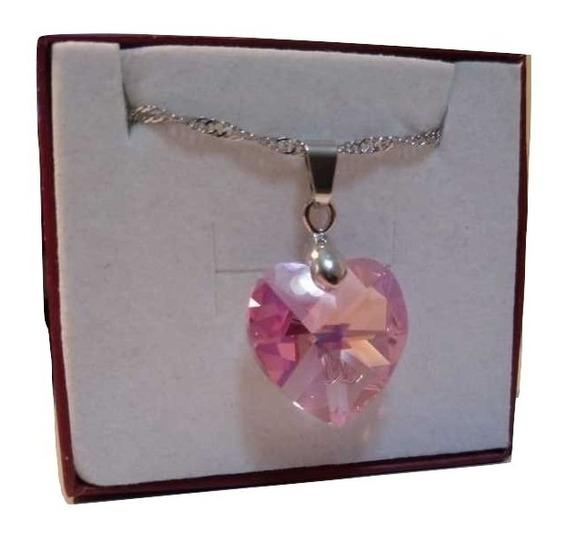 Colar Coração Cristal Swarovski Rose Boreal 1,8 Cm