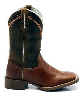 Bota Texana Country Masculina Lisa Marrom Arame 33057
