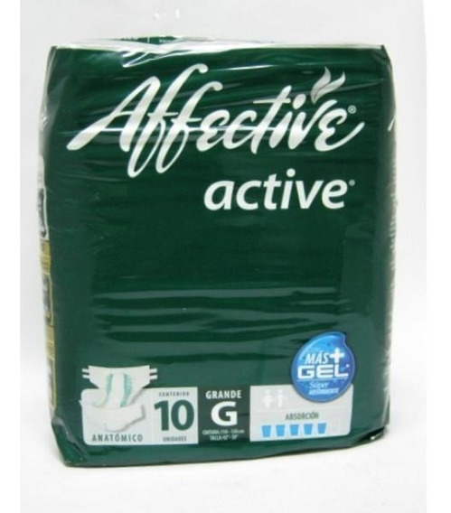 Caja Pañal Adulto Affective Active Grande 4 Bolsas De 10 Pie