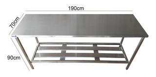 Mesa Inox Industrial Nortinox 190cm X 70cm X 90cm