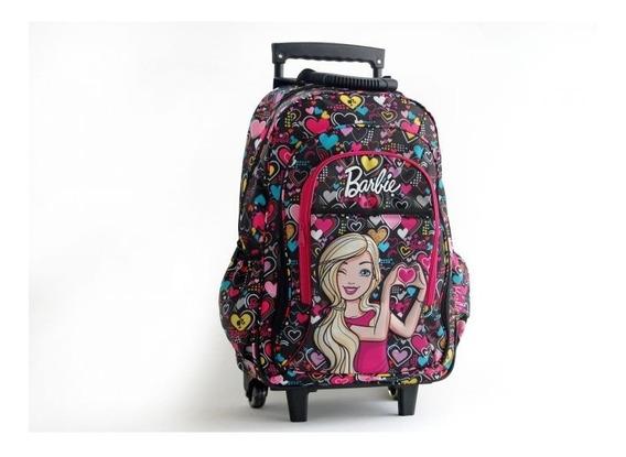 Mochila Barbie Con Ruedas Linea Corazones Escolar Nena