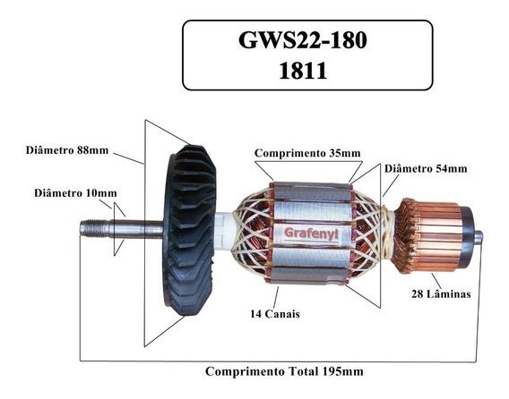 Kit Induzido E Escovas Para Bosch Gws 22-180 / 22-230 220v