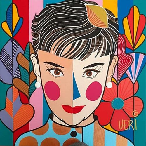Tela Audrey Hepburn Monroe - Artista Plástica Veridiana