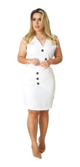 Vestido Feminino Decote V Com Botões Moda Roupas Femininas
