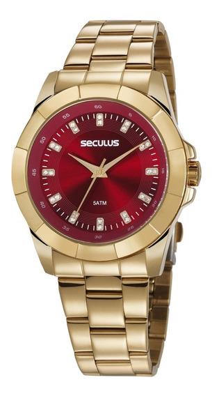Relógio Seculus Glamour Feminino Dourado 20611lpsvds1