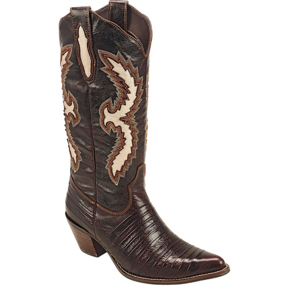 Bota Country Feminina Texana Casco De Tatu Couro Mustang Caf
