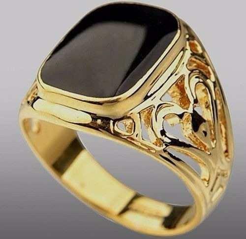 Anel Masculino Aro 25 Banhado Ouro Enamel Negro - J1637c