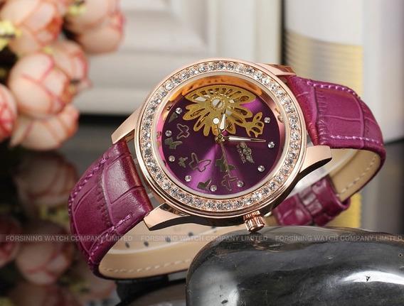 Relógio Luxo Feminino Winner Mecânico Lilás