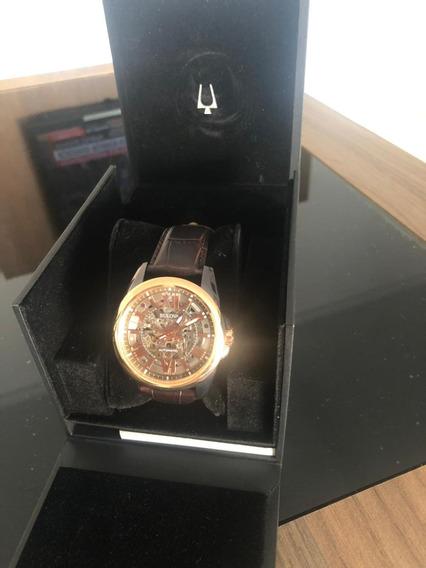 Relógio Bulova Automatic 98a165 Couro Marrom Original