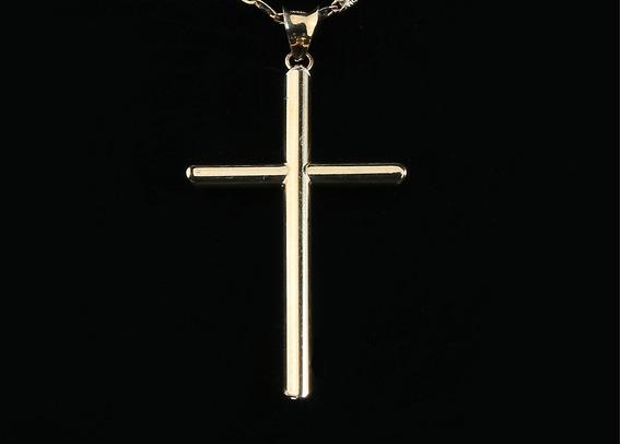 Medalla Dije De Cruz En Oro Solido 10k + Estuche + Envío Gratis Medidas 5.3cm De Largo X 3cm De Ancho