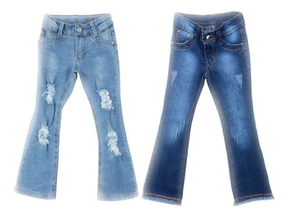 Kit 2 Calças Jeans Meninas Infantil Feminina Tam 4 6 E 8.