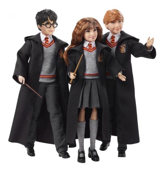 Paquete 3 Muñecos Harry Potter Ron Hermione Mattel