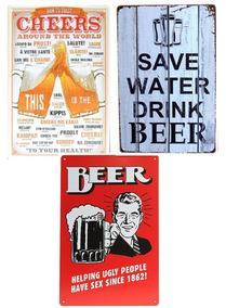 3 Placas Decorativas Quadro Metal Vintage Cerveja Beer 03