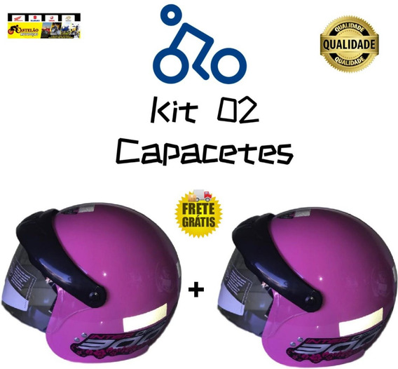 Kit 02 Capacetes Gow Aberto Com Viseira Rosa