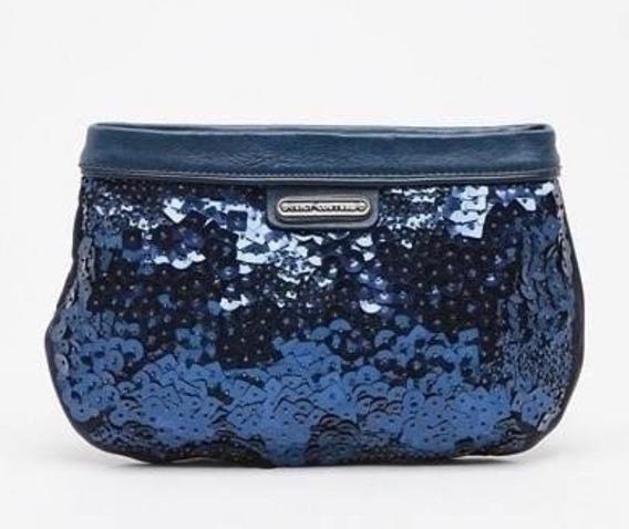 Bolsa Clutch Juicy Couture Hi-shine Darkblue Paetês Original