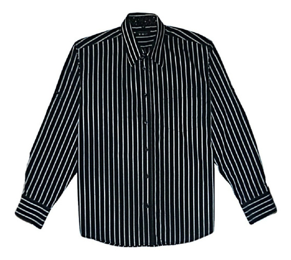 Camisa Manga Larga Negra Rayas Blancas. Aceptamos Pago Movil