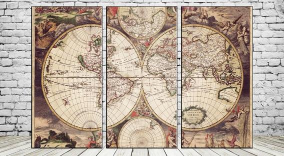 Cuadros Modernos Mapamundi Mapa Planisferio 90x57 Cm E09