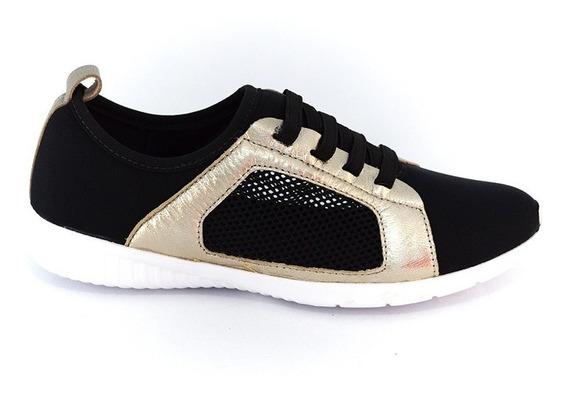Tênis Usaflex X6902 Lycra Preto/dourado Islen Calçados