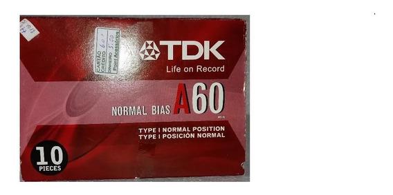 Fitas K-7 Tdk A60- Caixa Com 10 Unidades-lacradas