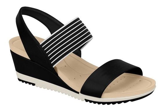 Sapato Saltinho Anabela Confortavel Preta Flex Leve 7123.107