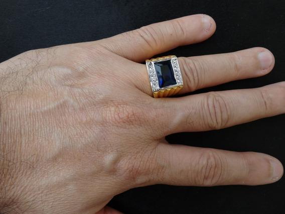 Anel Masculino Banhado A Ouro 18k Com Pedra Azul E Zircônio