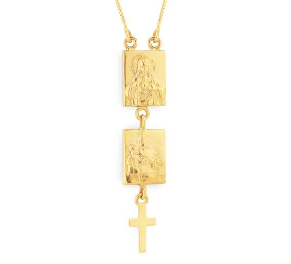 Escapulário De Ouro 18k Sagrado Coração De Jesus E Maria