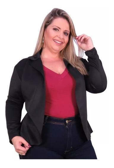 Kit 2 Blazer Neoprene Feminino Plus Size Casaco Acinturado
