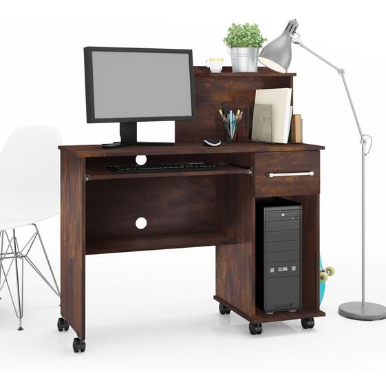 Mesa Escrivaninha Computador Studio Com Gaveta Noce