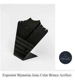 Expositor Bijuterias Joias Colar Brinco Acrílico Preto*