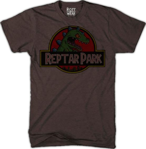 Reptar Jurassic Park Rugrats T-rex Playera Cafe Rott Wear