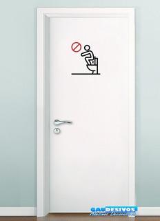 Adesivo De Parede, Vidro Banheiro Proibido Pisar No Vaso
