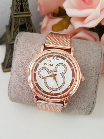 Relógio Mickey Feminino Dourado Rose