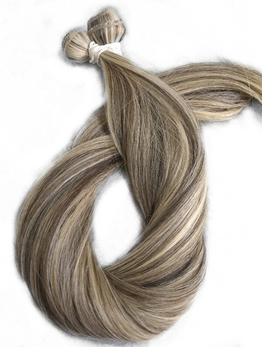 Imagem 1 de 7 de Cabelo Humano Loiro Mechado Tecido Tela 100g 70 Cm Mega Hair