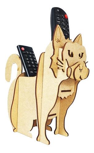 Imagem 1 de 7 de Gato Porta Treco E Controle Médio Mdf Gatinho Pet
